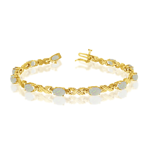 14K Yellow Gold Oval Opal Stones And Diamonds Tennis Bracelet, 7""