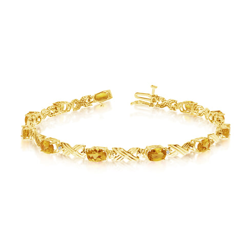 14K Yellow Gold Oval Citrine Stones And Diamonds Tennis Bracelet, 7""