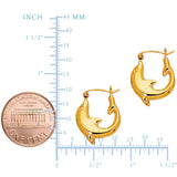 14K Yellow Gold Shiny Small Dolphin Hoop Earrings, Diameter 16mm