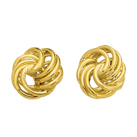 14k Gold Shiny Textured 4 Row Love Knot Stud Earrings, 10mm - JewelryAffairs  - 1