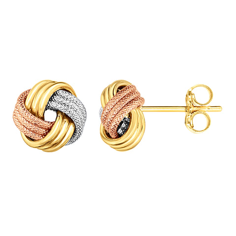 14K Tricolor Shiny And Textured Finish Love Knot Earrings, 9mm