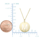 14k Yellow Gold Initial Letter Round Pendant Necklace, 18""