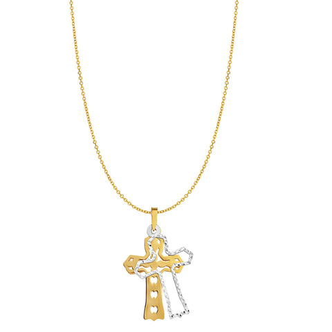 14k Yellow Gold Double Cross Charm Necklace, 18""