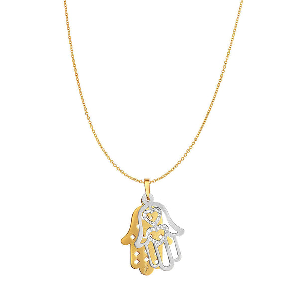 14k Yellow Gold Double Hamsa Charm Necklace, 18""