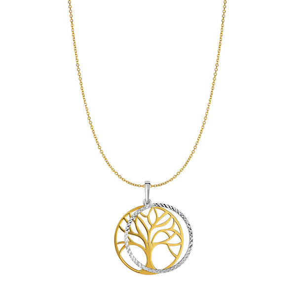 14k Yellow Gold Double Tree Of Life Charm Necklace, 18""