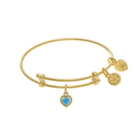 March Heart Shape CZ Birthstone Charm Adjustable Bangle Girls Bracelet