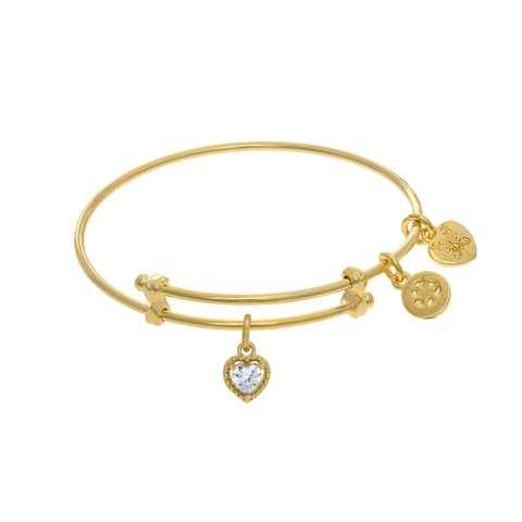April Heart Shape CZ Birthstone Charm Adjustable Bangle Girls Bracelet