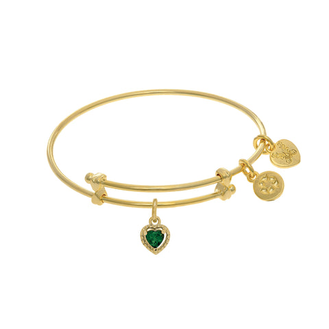 May Heart Shape CZ Birthstone Charm Adjustable Bangle Girls Bracelet