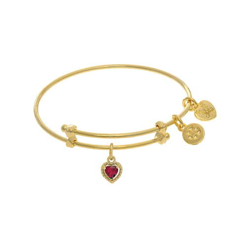 July Heart Shape CZ Birthstone Charm Expandable Tween Bangle Bracelet