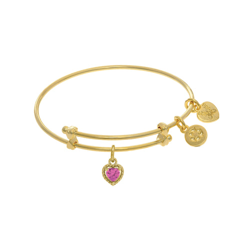 October Heart Shape CZ Birthstone Charm Adjustable Bangle Girls Bracelet
