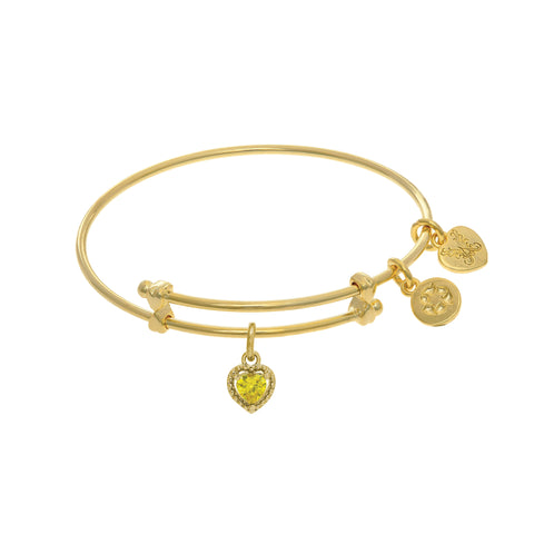 November Heart Shape CZ Birthstone Charm Expandable Tween Bangle Bracelet
