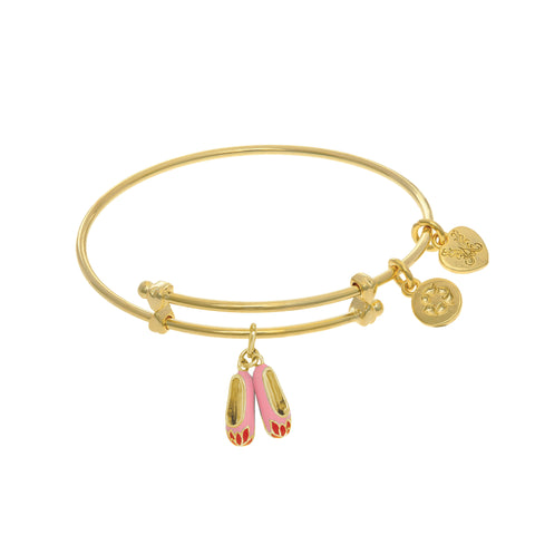 Ballerina Shoe Enamel Charm Expandable Tween Bangle Bracelet