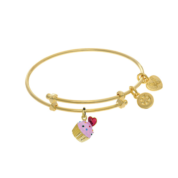 Cupcake Enamel Charm Adjustable Bangle Girls Bracelet