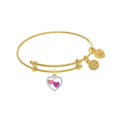 Heart Charm And Enamel Adjustable Bangle Girls Bracelet