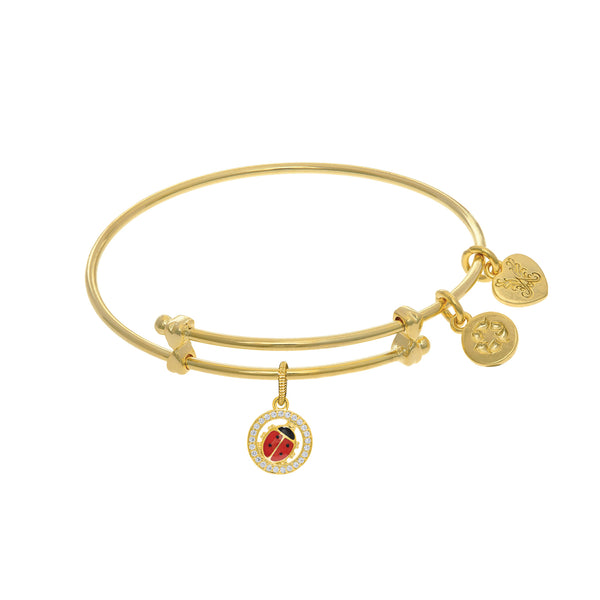 Enamel Lady Bug Charm Adjustable Bangle Girls Bracelet