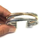 18k Yellow Gold And Twisted Sterling Silver Cuff Bangle Bracelet,7.5""