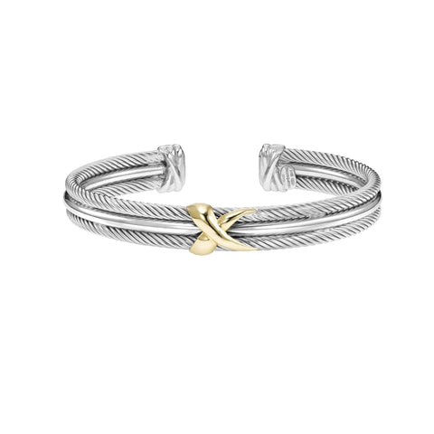 18k Yellow Gold And Sterling Silver Twisted X Cuff Bangle Bracelet