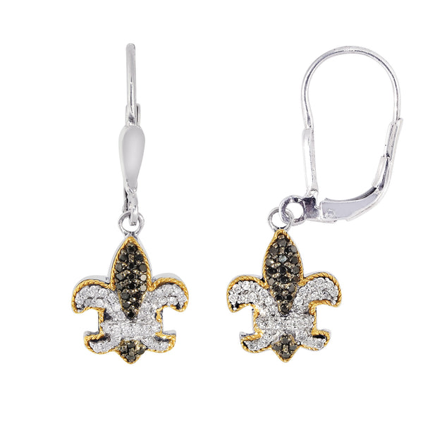 18K Gold And Oxidized Sterling Silver Fleur De Lis  Drop Earrings With Black And White Sapphires - JewelryAffairs  - 1