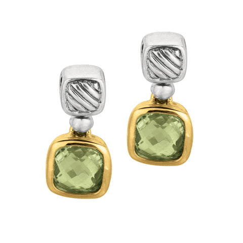 Phillip Gabriel 18k Gold And Sterling Silver Green Amethyst Drop Earrings