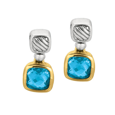 Phillip Gabriel 18k Gold And Sterling Silver Blue Amethyst Drop Earrings