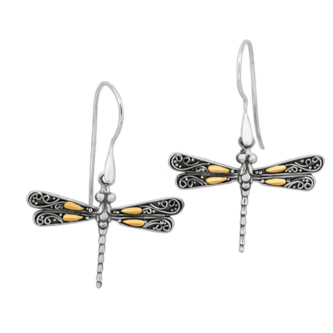 18K Gold & Sterling Silver Dragonfly French Wire Drop Earrings - JewelryAffairs  - 1