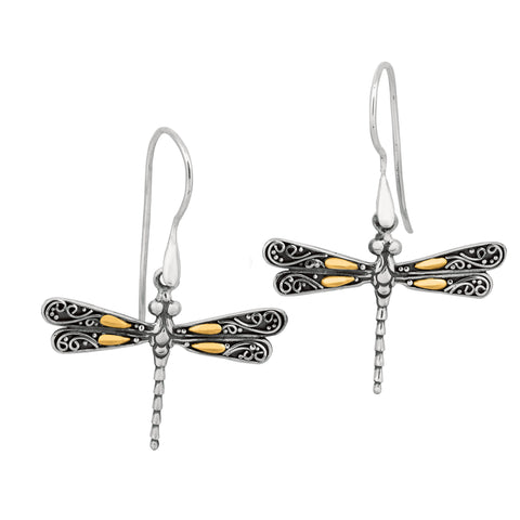 18K Gold And Sterling Silver Dragonfly French Wire Drop Earrings