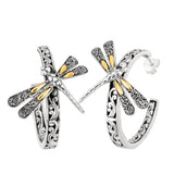 18K Gold & Sterling Silver Filigree Large Post Back Hoop Earrings - JewelryAffairs  - 1