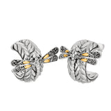 18K Gold & Sterling Silver Dragonfly Woven Leaf Post Back Hoop Earrings - JewelryAffairs  - 1