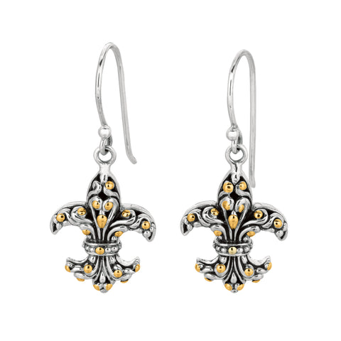 18K Gold And Oxidized Sterling Silver Fleur De Lis Drop Earrings - JewelryAffairs  - 1