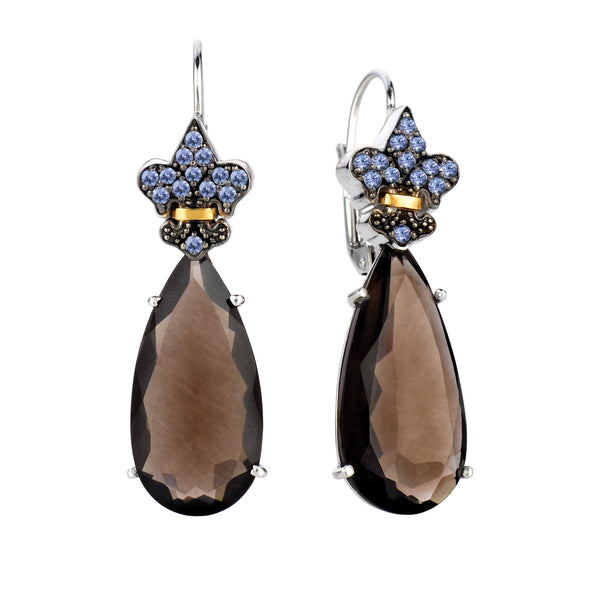 18K Gold And Oxidized Sterling Silver Lever back Drop Earrings With Smokey Quartz And Tanzanite - JewelryAffairs  - 1