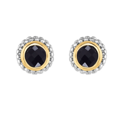 18k Gold And Sterling Silver Black Onyx Stud Earrings
