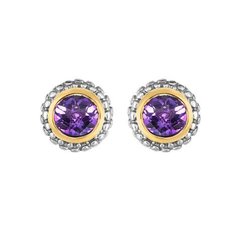 18k Gold And Sterling Silver Amethyst Stud Earrings