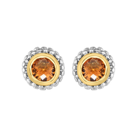 18k Gold And Sterling Silver Citrine Stud Earrings