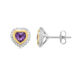 18k Gold And Sterling Silver Amethyst Heart Stud Earrings