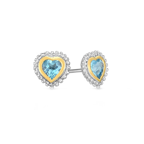 18k Gold And Sterling Silver Blue Heart Topaz Stud Earrings