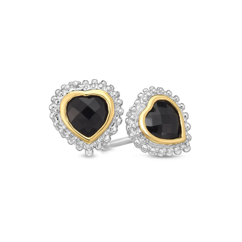 18k Gold And Sterling Silver Black Heart Onyx Stud Earrings
