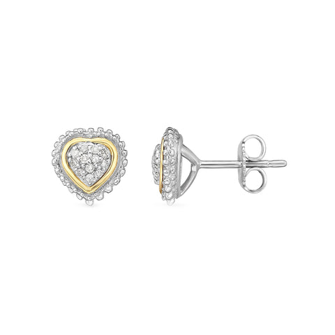 18k Gold And Sterling Silver Diamond 0.12ctw Heart Stud Earrings