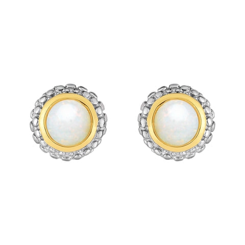 18k Gold And Sterling Silver Opal Stud Earrings