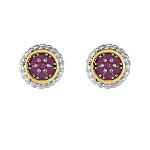 18k Gold And Sterling Silver Ruby Stud Earrings