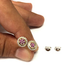 18k Gold And Sterling Silver Burma Ruby Stud Earrings