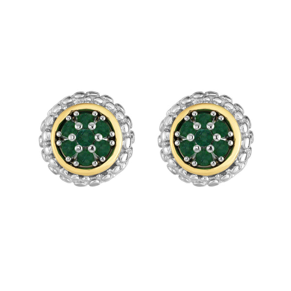 18k Gold And Sterling Silver Emerald Stud Earrings