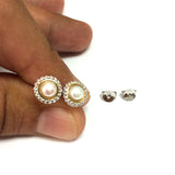 18k Gold And Sterling Silver Freshwater Cultured Pearl Stud Earrings