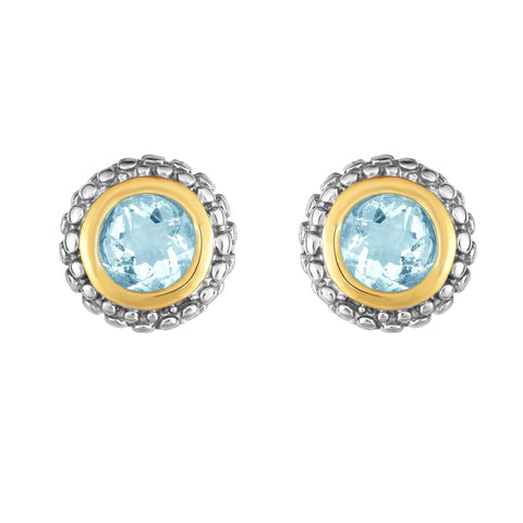 18k Gold And Sterling Silver Aquamarine Stud Earrings