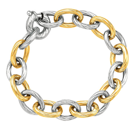 18k Yellow Gold And Sterling Silver Oval Link Bracelet, 7.75""