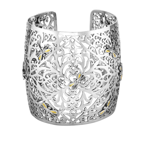 18k Yellow Gold And Silver Filigree Vine Patterned Cuff Bangle