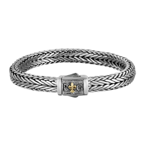 18k Yellow Gold And Sterling Silver Square Weave Mens Bracelet, 8.25""