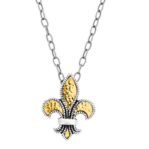 18k Yellow Gold And Sterling Silver Fleur De Lis Necklace, 20""