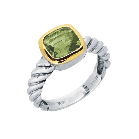18K Gold And Twisted Cable Sterling Silver Green Amethyst Ring