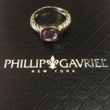 18K Gold And Twisted Cable Sterling Silver Pink Amethyst Ring