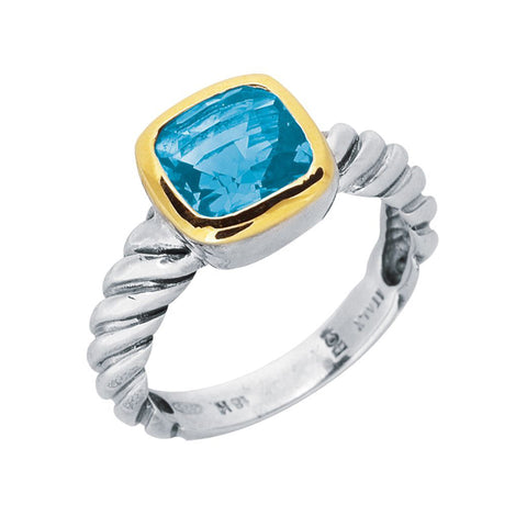 18K Gold And Twisted Cable Sterling Silver Blue Topaz Ring